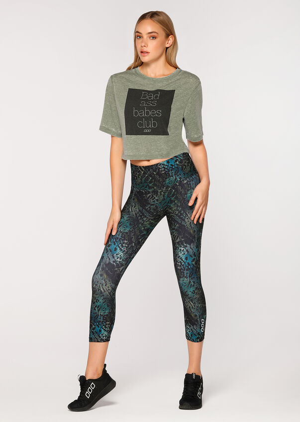 Babes Club Cropped Tee, Army Green, hi-res