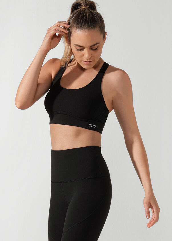 High Impact Sports Bra, Black, hi-res