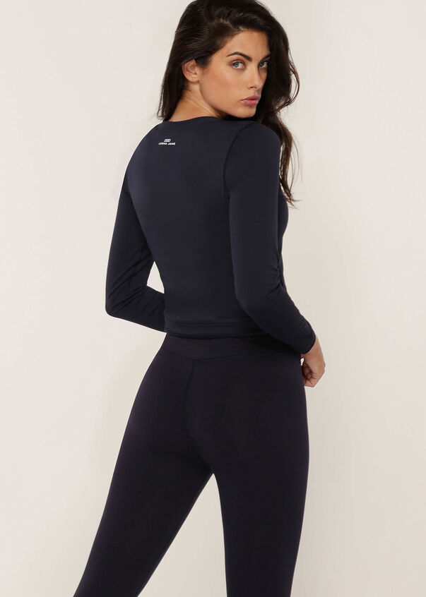 Wrap Active Long Sleeve Top, French Navy, hi-res