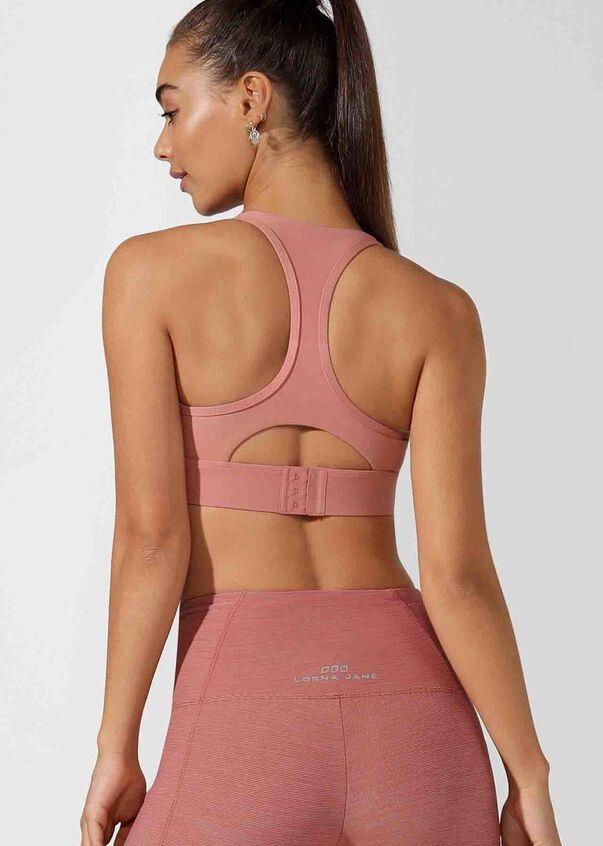 LJ Skinny Back Tech Sports Bra, Powdered Pink, hi-res