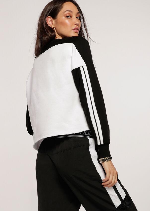 Colour Block Cropped Sweat, Black/White, hi-res