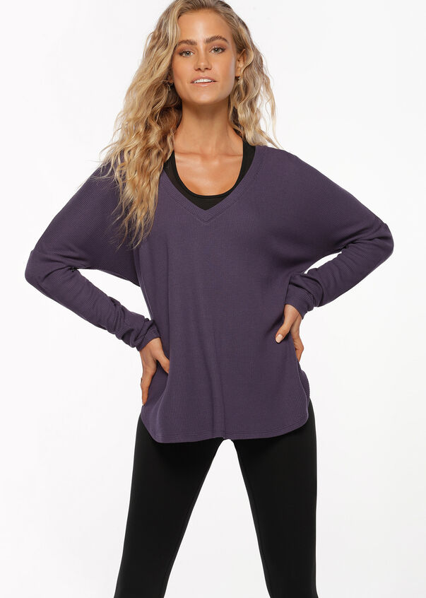 Warm Up Long Sleeve Top, Night Violet, hi-res
