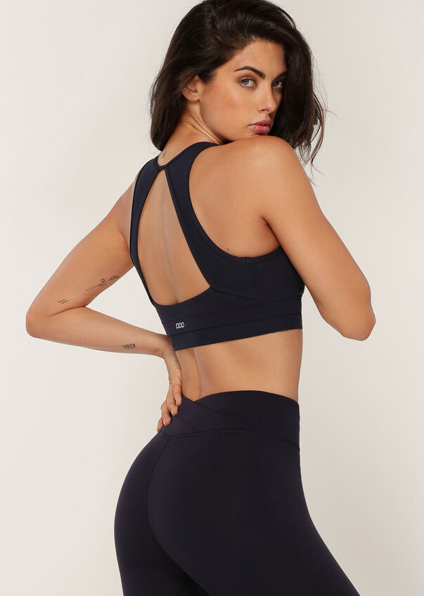 Ultimate Wrap Sports Bra, French Navy, hi-res