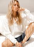 Henley Long Sleeve Top, Cream, hi-res