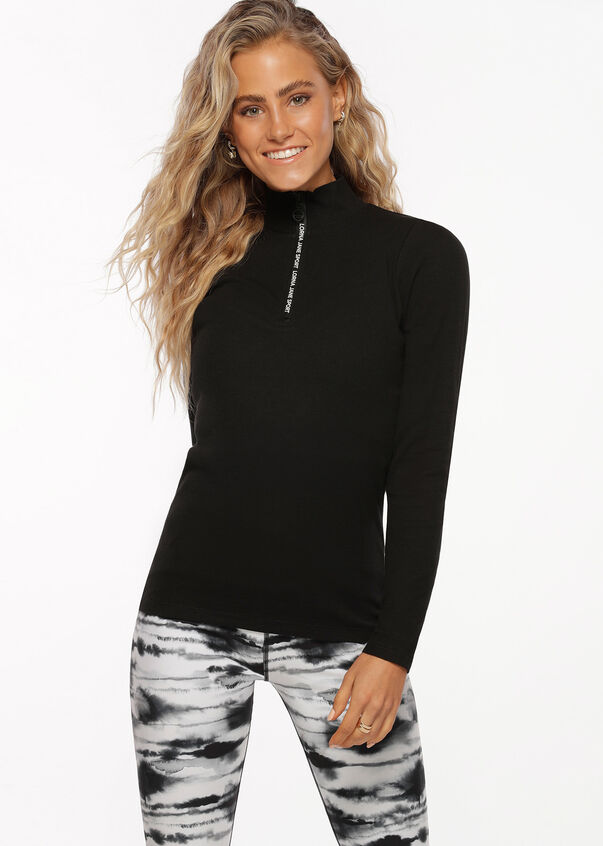 Half Zip Iconic Long Sleeve Top, Black, hi-res