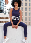 LJ Athletic Cropped Tank, French Navy, hi-res