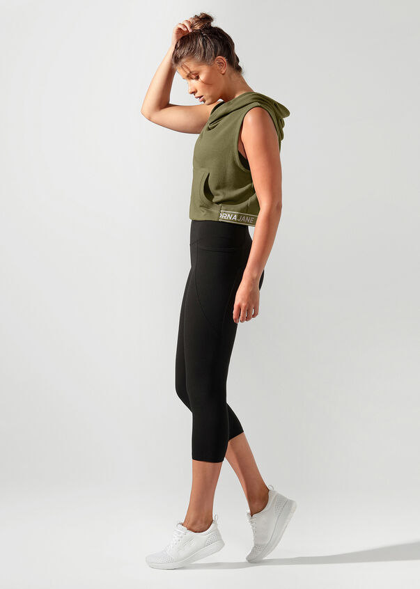 Throw Over Cropped Hoodie, Pale Olive, hi-res