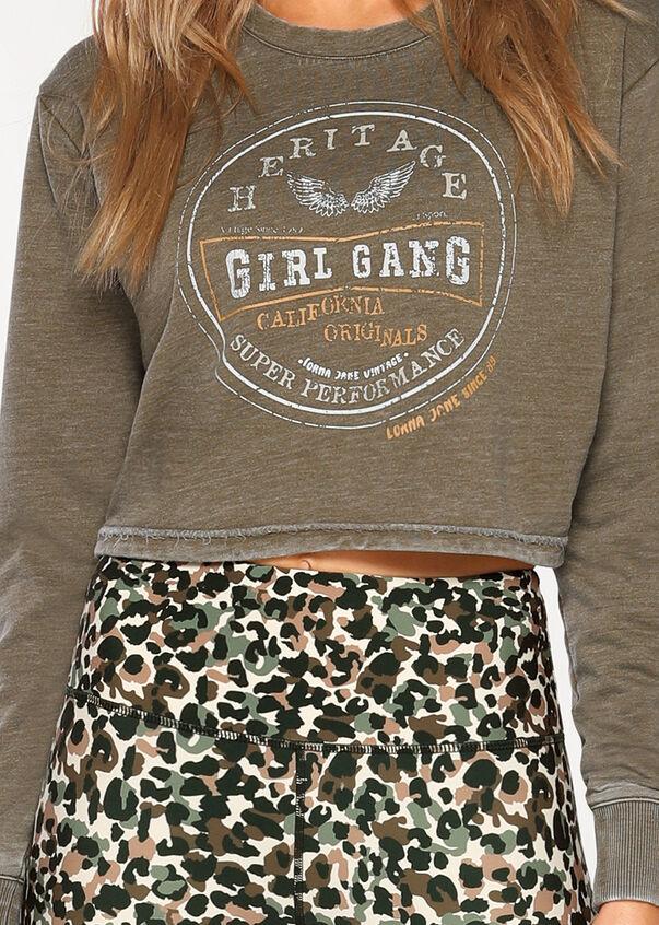 Girl Gang Cropped Sweat, Hazel, hi-res