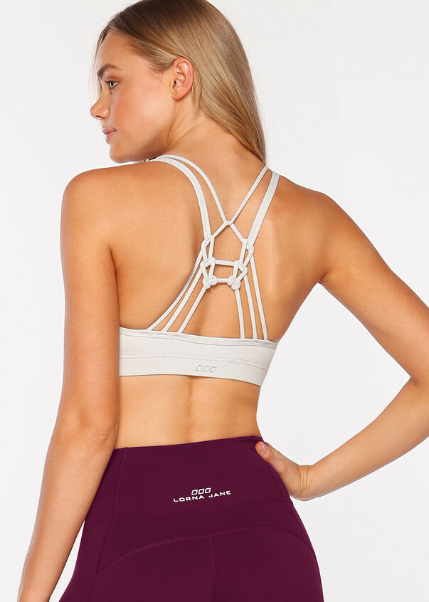 Knotted Yoga  Bra, Snow Grey Marl, hi-res
