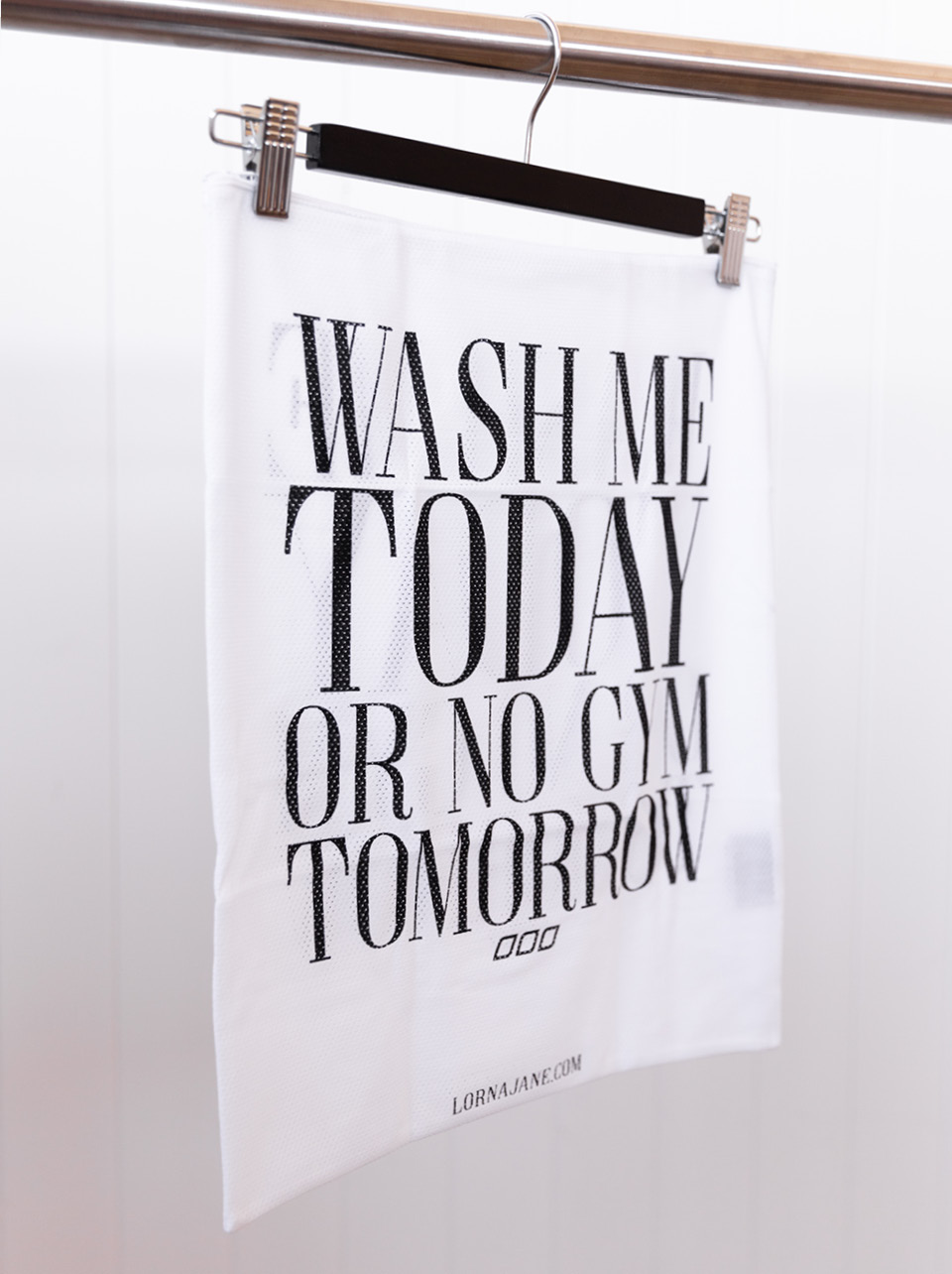 Decorative image of Lorna Jane Washbag with text Wash Me Today or No Gym Tomorrow